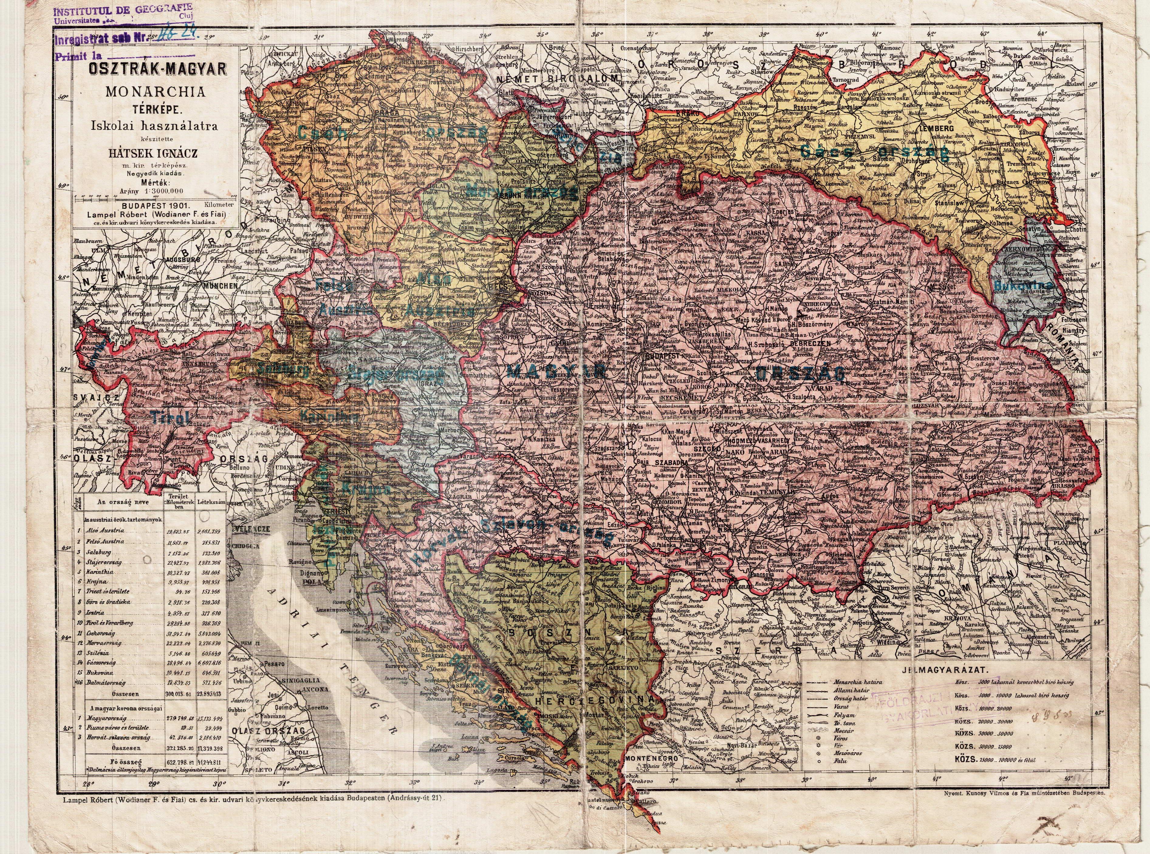 osztrák magyar monarchia térkép Térképek   Hátsek Ignác Osztrák–Magyar Monarchia térképe (Lampel  osztrák magyar monarchia térkép